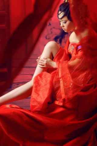 古风红衣美人唯美手机壁纸