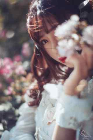 lolita洋装—少女美若桃花手机壁纸