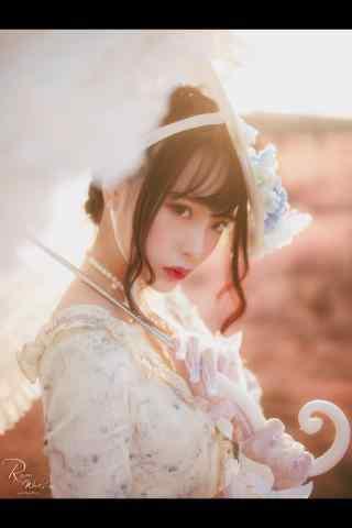 lolita洋装—余辉撒在少女脸上手机壁纸