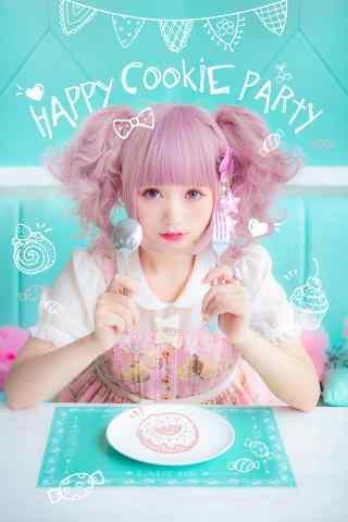 lolita洋装—软萌可爱的吃货少女手机壁纸
