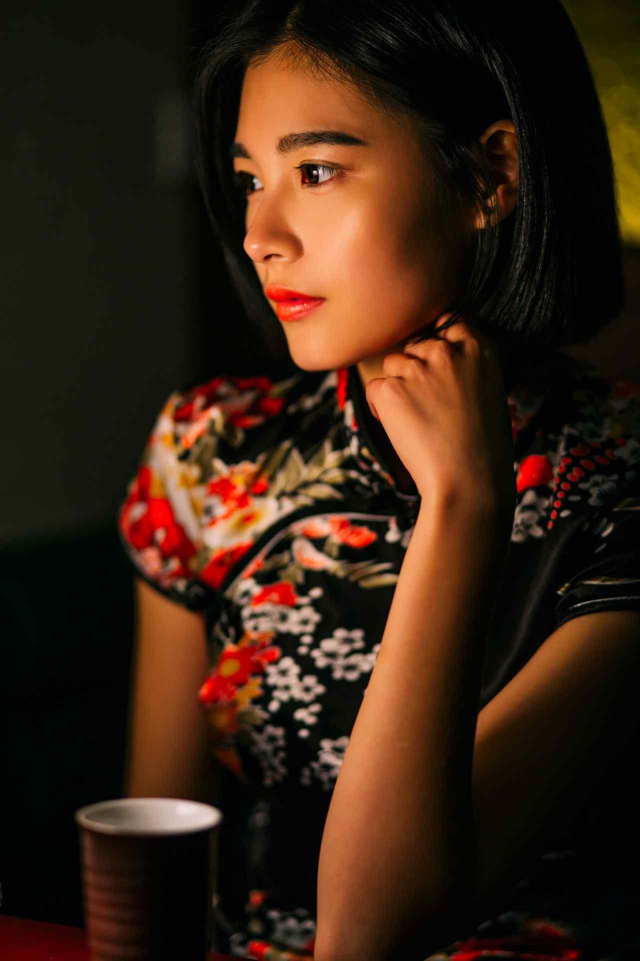 旗袍—美女紧致容颜手机壁纸