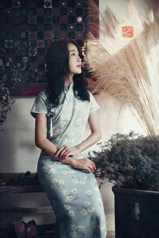 旗袍—清纯少女侧脸手机壁纸