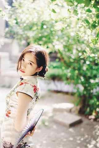 旗袍—小清新复古美女手机壁纸