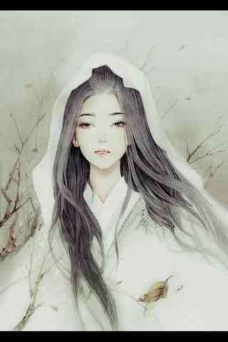 手绘古风白衣美女手机壁纸