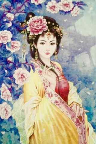 典雅的手绘古风美女手机壁纸