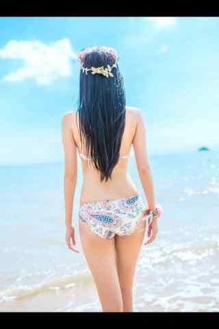 小清新海边裸背美