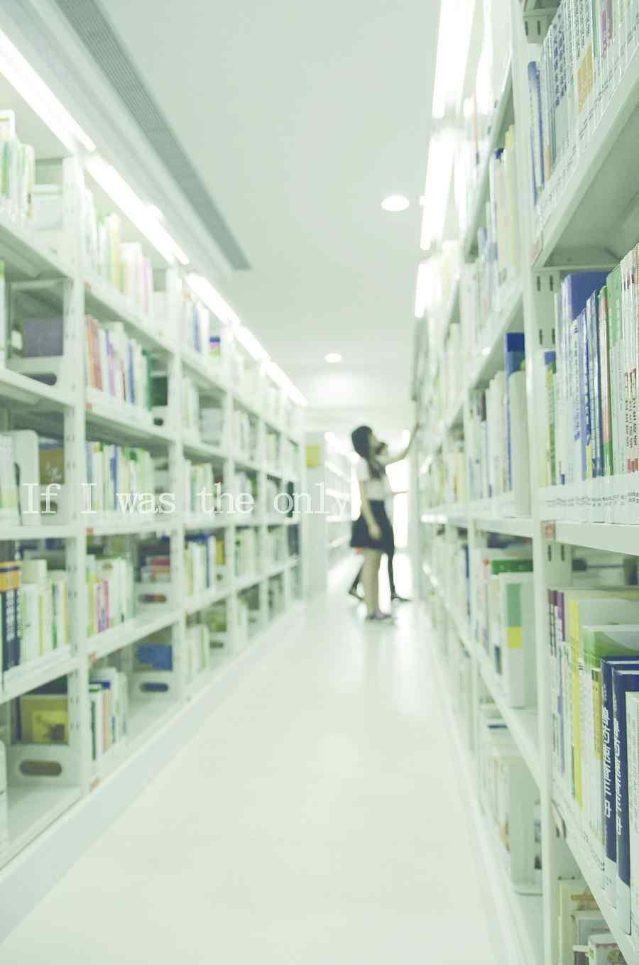 美女图书馆唯美朦胧写真手机壁纸