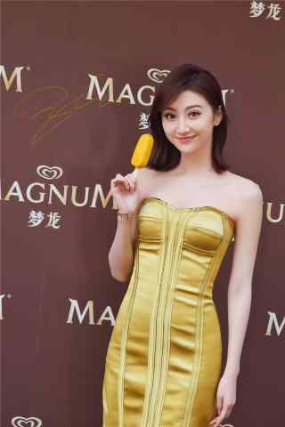 景甜性感金色禮服手機壁紙