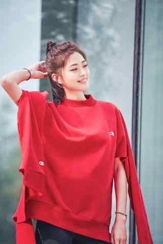 王妍之红色时尚写真手机壁纸