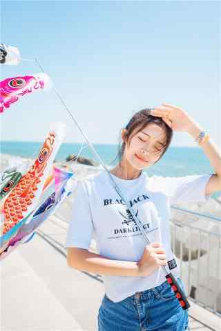 小清新青島(dao)美女夏日寫真手機(ji)壁紙