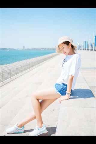 小清新青島(dao)美女寫真手機(ji)壁紙