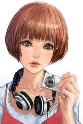 短发美女手绘手机壁纸