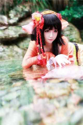 阴阳师可爱的鲤鱼精cosplay手机壁纸