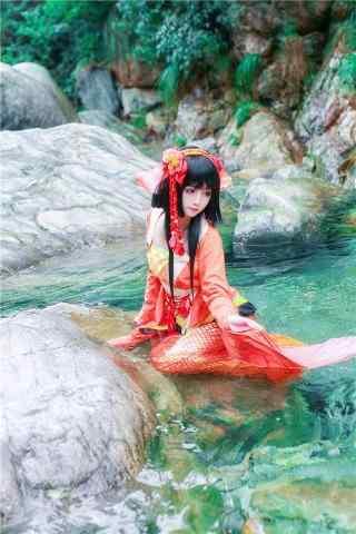 可爱的阴阳师鲤鱼精cosplay手机壁纸