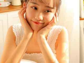 清纯美女童颜美少女可爱丸子头居家蕾丝裙诱人美女小清纯性感女孩生活图