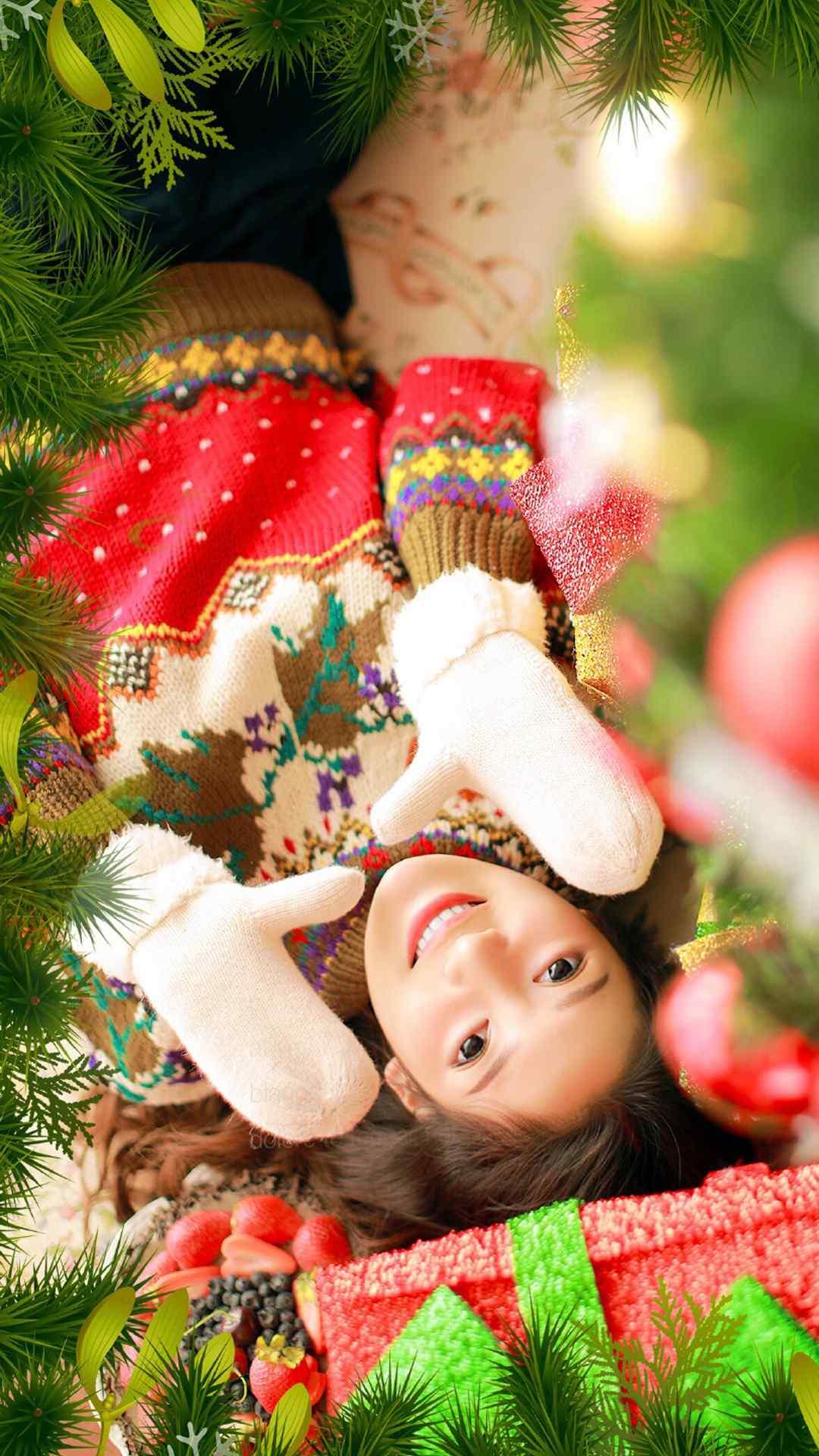 性感美女图片素材圣诞女孩唯美写真高清手机壁纸