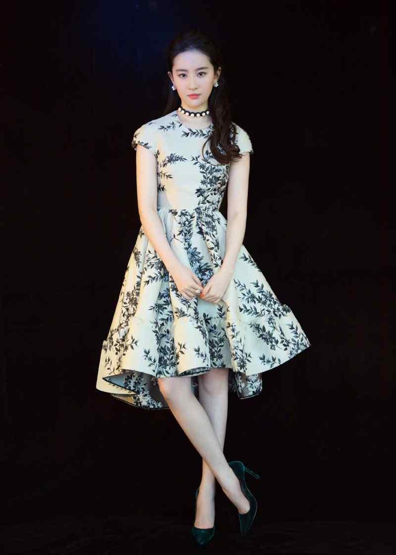 刘亦菲清新淡雅印花裙写真图片