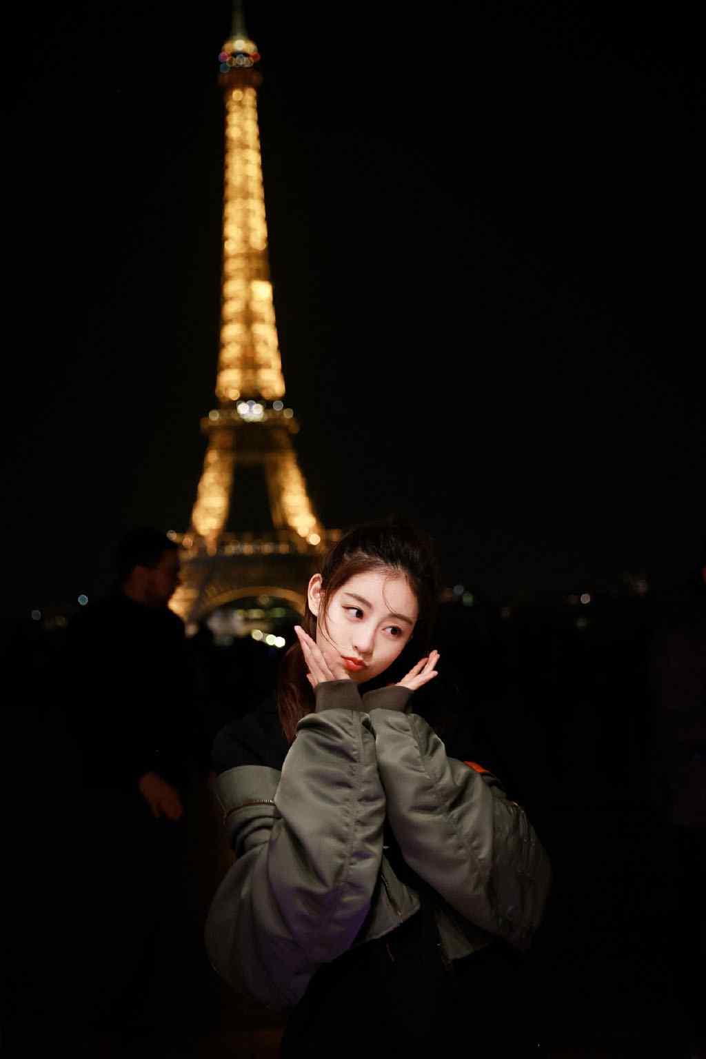 祝绪丹巴黎夜景美照写真图片