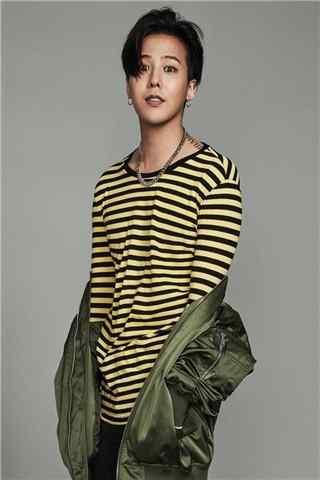 权志龙G-DRAGON时尚杂志拍摄黄黑条纹T恤手机壁纸