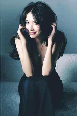 林志玲黑色长裙性感杂志写真手机壁纸