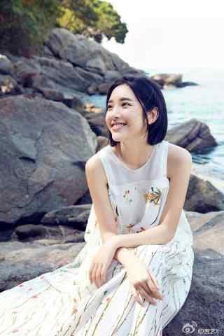 唐艺昕阳光笑容海边元气少女手机壁纸