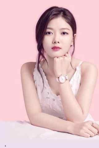 韩国美少女金裕贞写着图片手机壁纸之粉红画报