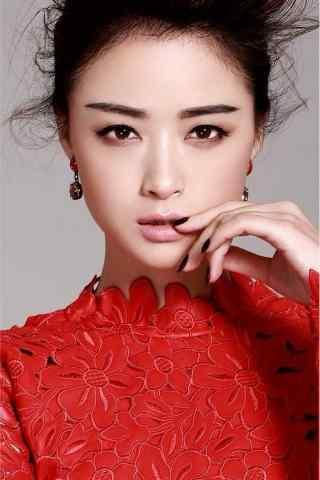 美女蒋欣红衣时尚写真图片手机壁纸