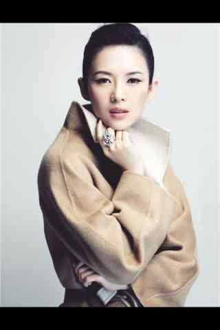 章子怡时尚大衣造型手机壁纸