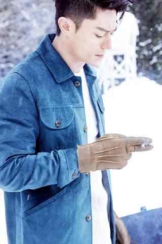 老干部霍建华雪地抽烟牛仔上衣造型图片手机壁纸