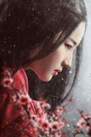 古风红衣美人刘亦菲手机壁纸