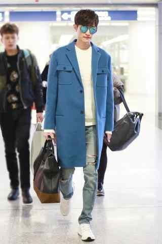 身着宝蓝色大衣帅气张翰桌面壁纸