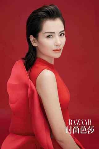 刘涛时尚红色写真手机壁纸