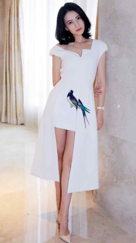 高圆圆白色长裙纯白唯美写真图片手机壁纸