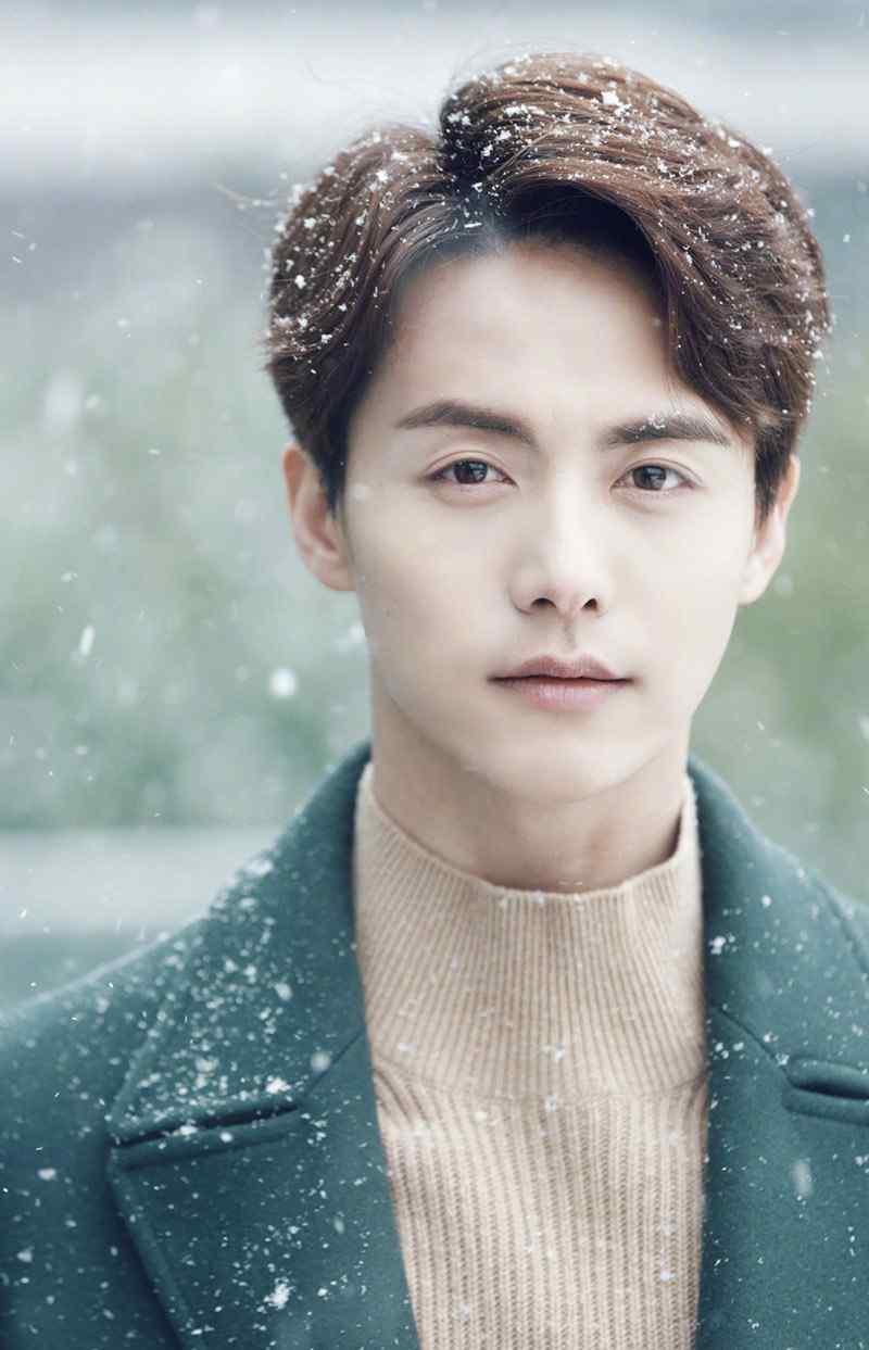 马天宇浪漫帅气雪中梦幻写真图片