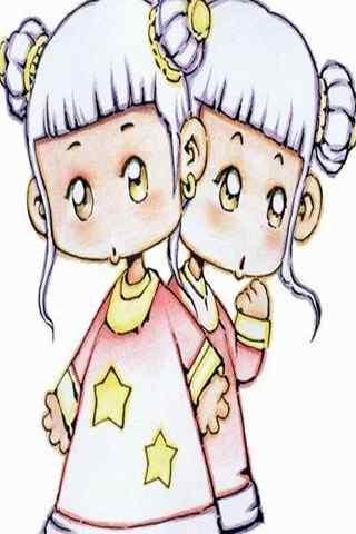 可爱卡通女生双子座手机星座壁纸