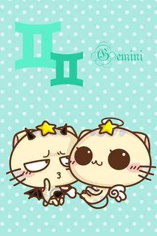 可爱双子猫猫双子座手机星座壁纸