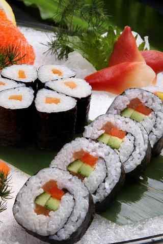 寿司果蔬寿司摆盘手机壁纸