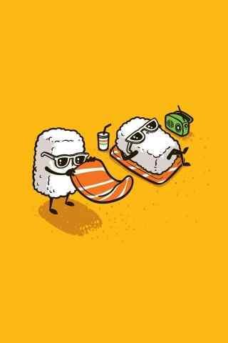 寿司卡通可爱寿司晒太阳手机壁纸