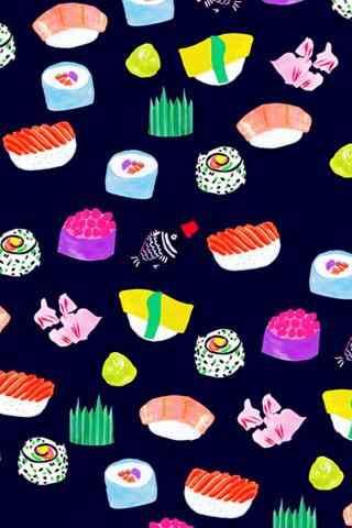 寿司卡通五彩斑斓寿司手机壁纸