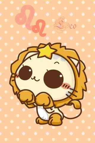 狮子座可爱卡通小猫手机壁纸