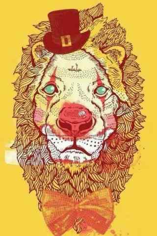 狮子座插画简约手机壁纸