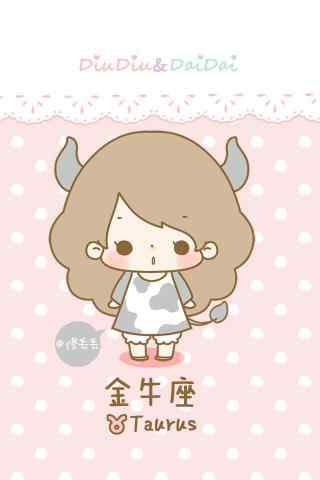 金牛座可爱卡通小女孩手机壁纸