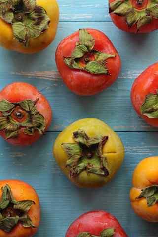 文艺的养生水果之柿子手机壁纸