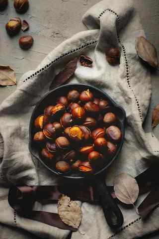 文艺美食之秋季养身的板栗手机壁纸