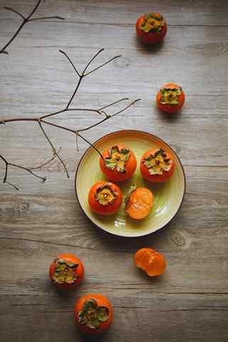 文艺的养生美食之柿子手机壁纸
