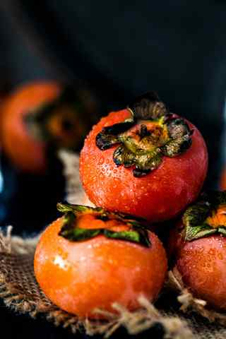 秋季养生水果之柿子手机壁纸
