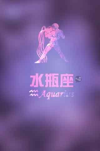水瓶座紫色简约符号手机壁纸