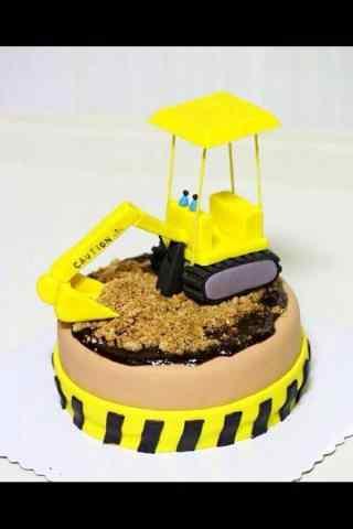 翻糖蛋糕创意挖掘机蛋糕手机壁纸