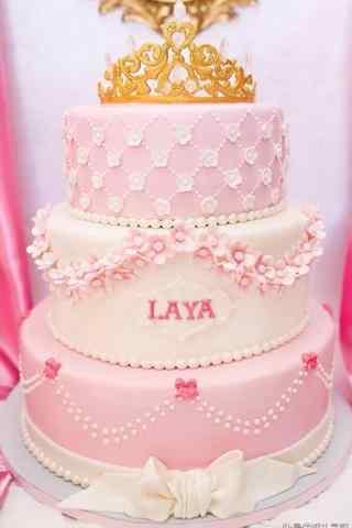 翻糖蛋糕可爱粉色公主手机壁纸