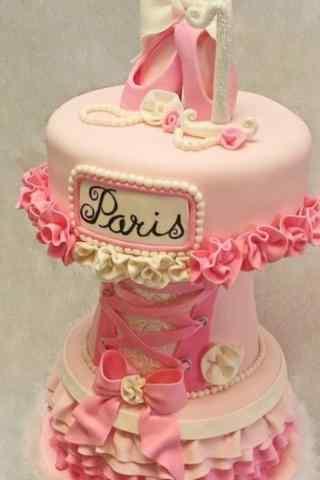 翻糖蛋糕粉色高跟鞋手机壁纸